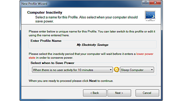 Simple Profile Wizard - Choose when the computer will enter a Lower Power State